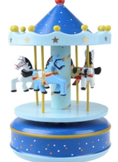 Nostaljik El Yapımı Atlıkarınca Müzik Kutusu Lacivert  Mavi-Practika